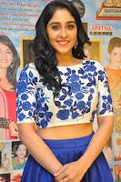 Regina Casandra in Stunning White Embroidery Crop Top Choli and Blue Ghagra at Santosham awards 2017 curtain raiser press meet 02.08.2017 040.JPG