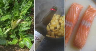 Zubereitung Trümmer-Omelett mit Spargel, Lachs und Mangold, Zubereitung Spargel, Zubereitung Lachs, Mangold, Kochen mit Marsala