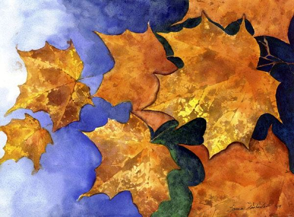 Autumn Leaves Painting by Laura Tasheiko