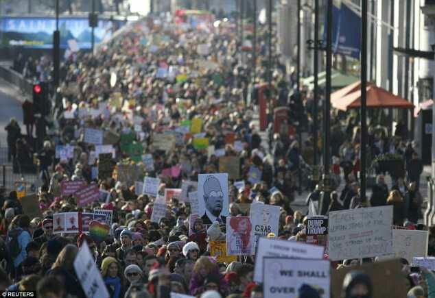 Over 3m Crowd Marching Against Donald Trump In The Streets Of USA