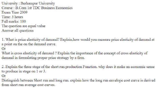 B Com 1st TDC Business Economics Berhampur University 2009 Question