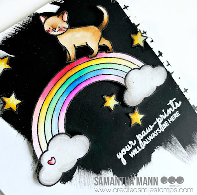 Your Paw Prints Will Always Be Here Card by Samantha Mann for Create a Smile Stamps, Sympathy Card, handmade cards, pet loss, gesso, rainbow bridge #rainbowbridge #createasmile #sympathycard