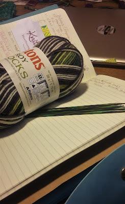 Knitting a Slytherin sock