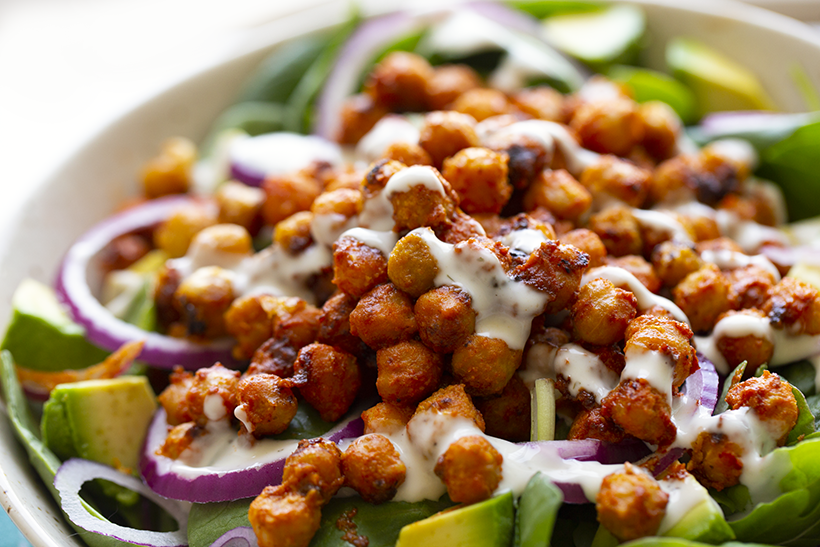 salad with beans on top