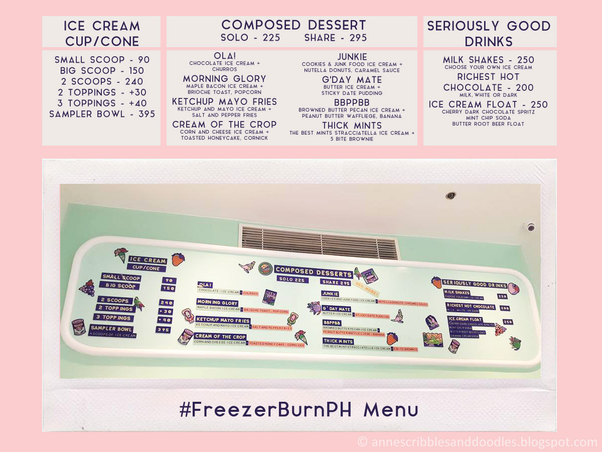 Freezer Burn Ph Menu : Not Your Ordinary Ice Cream in BGC | Anne's Scribbles and Doodles