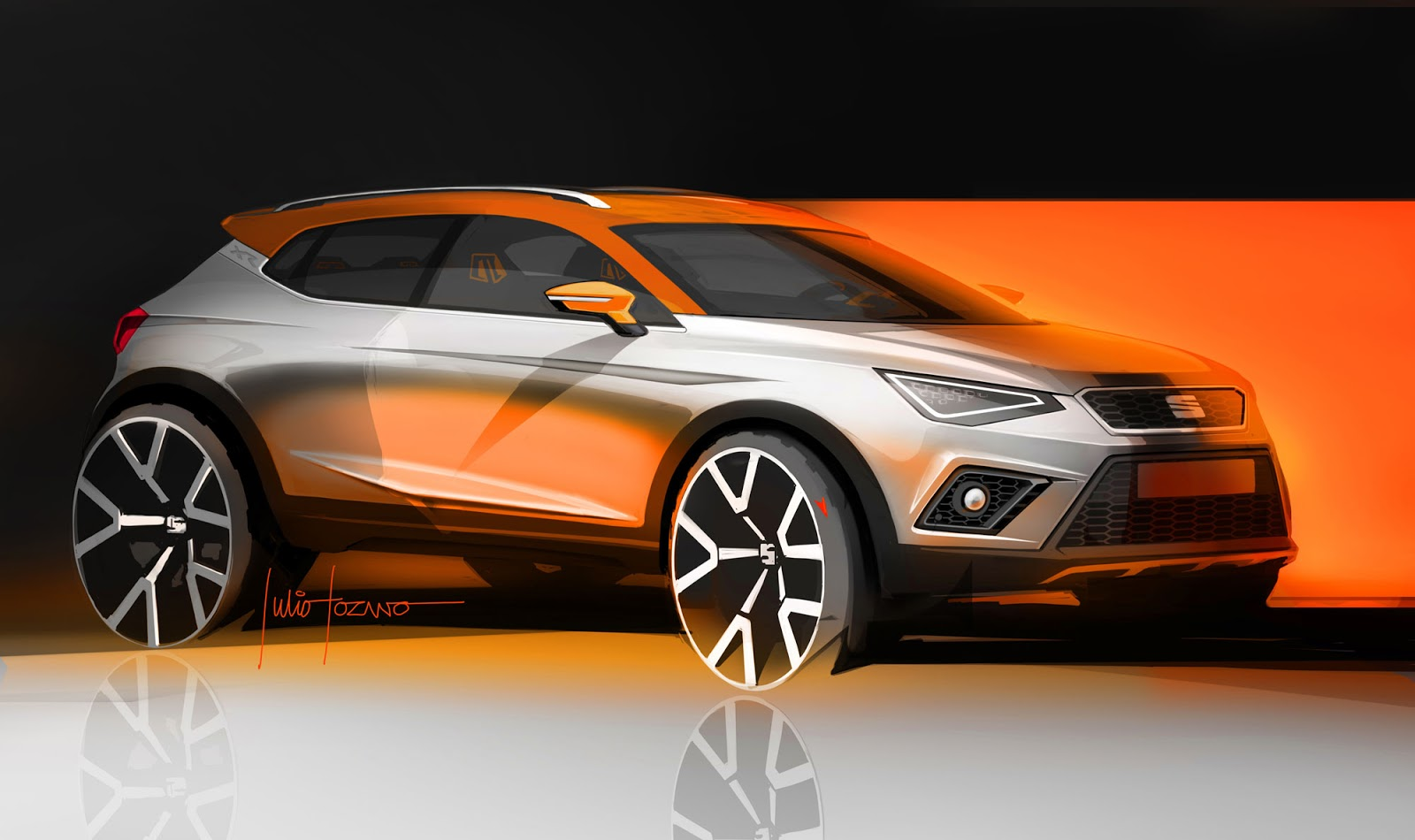 Seat Arona sketch by Julio Lozano, front side view