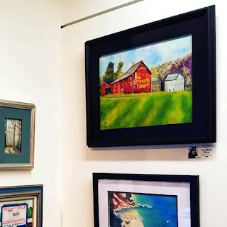 Ceresota Flour framed original oil painting of a Pennsylvania barn and farm by artist Merrill Weber