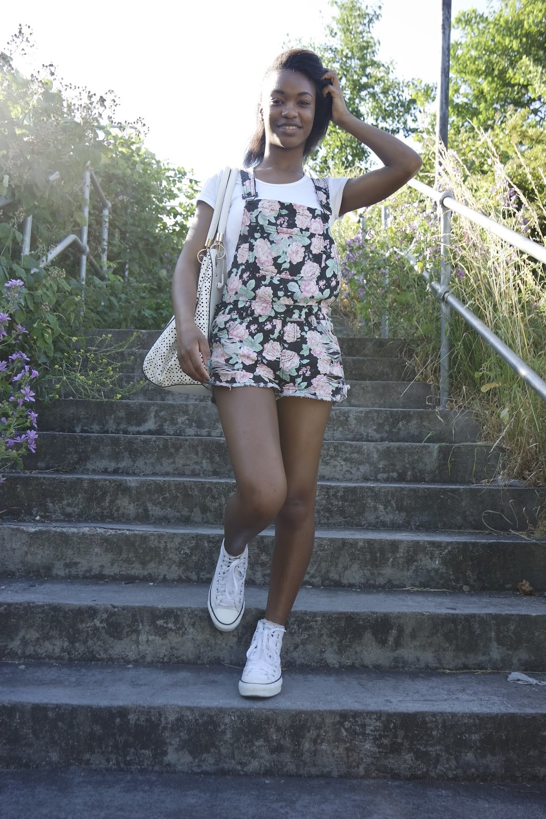Tashika Bailey | Floral Print Dungarees