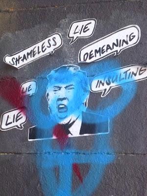 Streetart, Urbanart, Trump in München - an der Tumblingerstaße - Shameless | Lie | Demeaning | Insulting