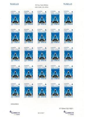 Pliego de sellos personalizados del XX aniversario del Grupo Coleccionista Minero Investigador GRUCOMI