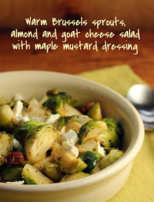 Warm Brussels Sprouts, Almond, and Goat Cheese Salad from The Perfect Pantry featured for Low-Carb Recipe Love on Fridays on KalynsKitchen.com