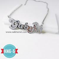 perhiasan nama lapis emas dan silver kerajinan monel