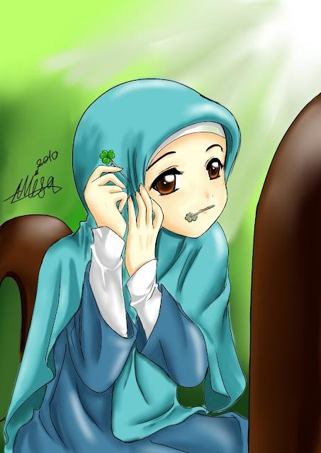 Kartun Akhwat\/Muslimah Mengenakan Hijab\/Jilbab\/Kerudung Biru Muda  Kartun Dakwah Islam