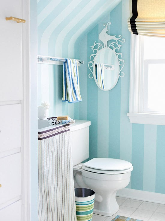 Striped Wallpaper Bottom Paint Top In Small Bathroom: Modern Furniture: 2014 Clever Solutions For Small