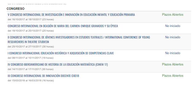 Congresos en: Oferta Estudios Propios.