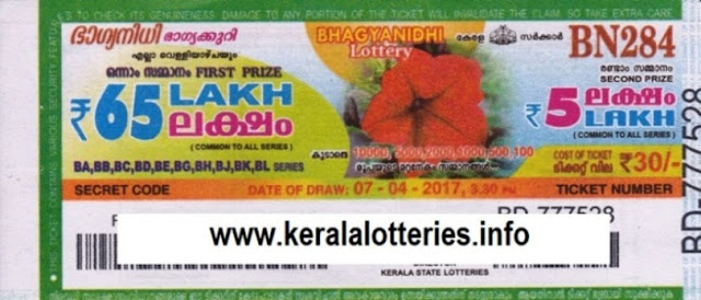 Kerala lottery result live of Bhagyanidhi (BN-242) on  17 June 2016