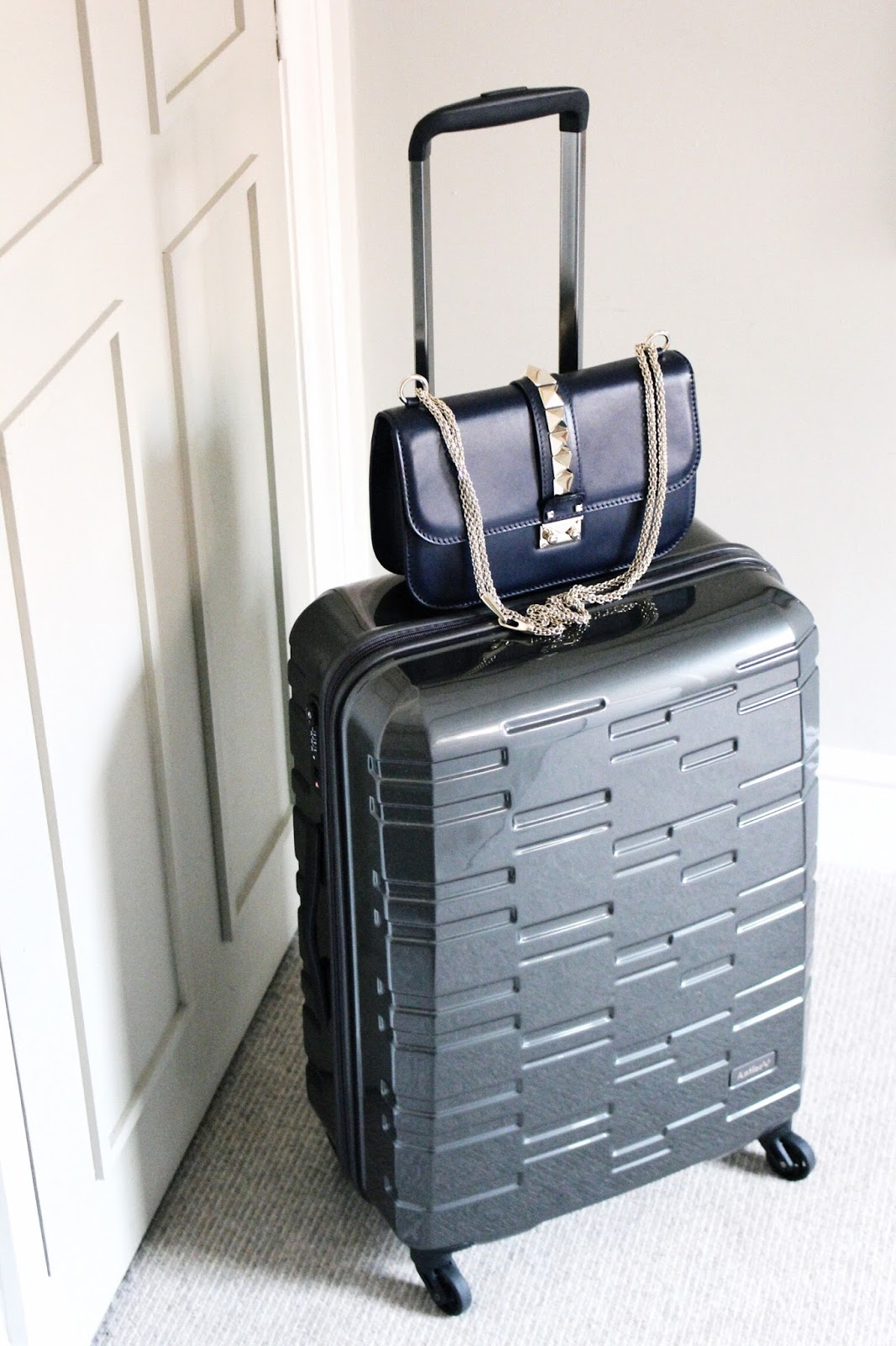 Grey Antler Suitcase and Valentino Handbag