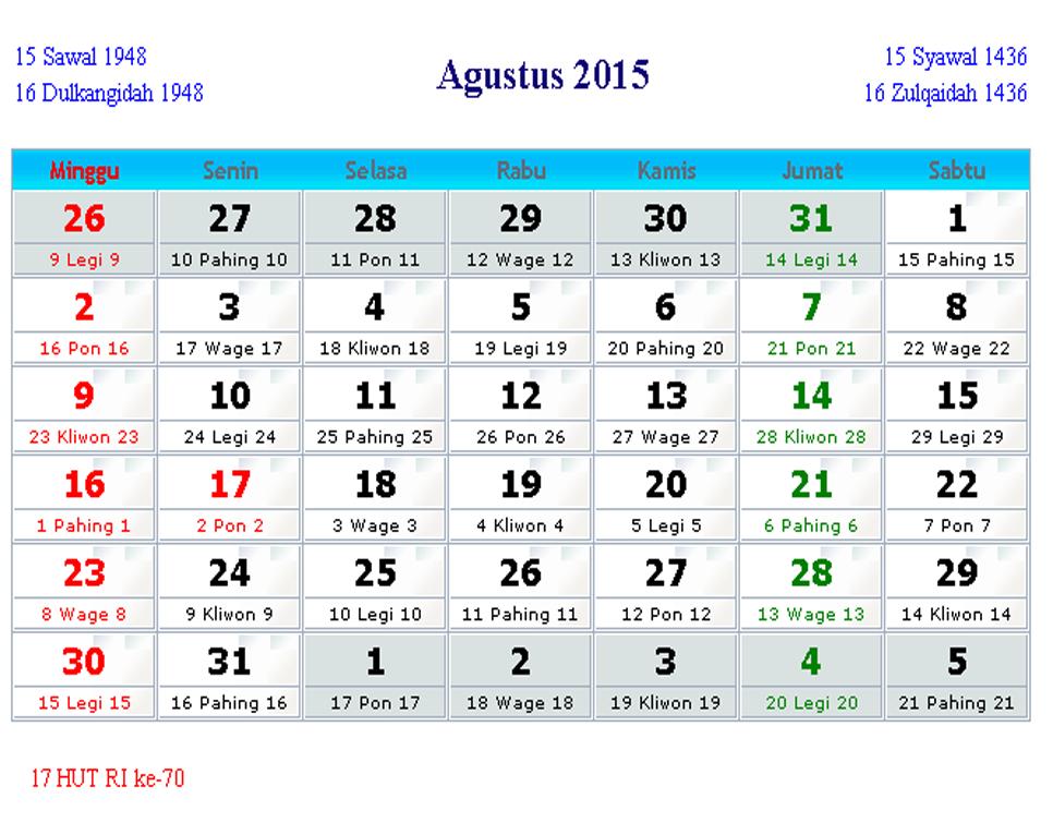 Kalender 2015 12Bulan  Hari Libur Nasional  Cuti Bersama