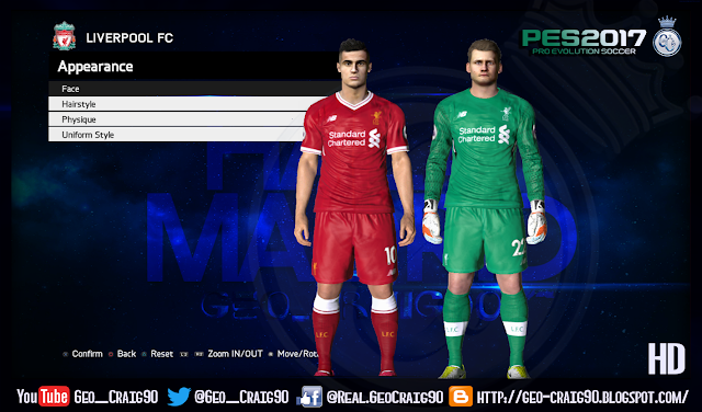 PES 2017 Liverpool [Home & GK Kits] 2017-18 HD (Fix Font Number) by Geo_Craig90