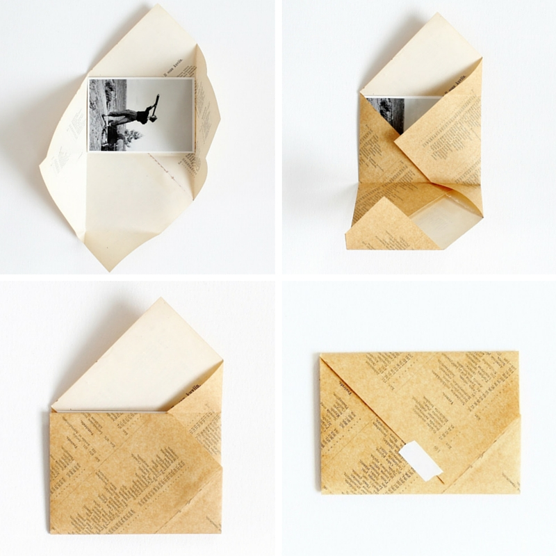 Open All Folds And Put Your Postcard Letter Inside Fold In Flaps Seal With A Bit Of Washi Tape