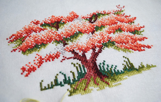 Blossoming Spring Cross Stitch Work in Progress, WIP, Sheila Hudson, The Ultimate Forest Friends Collection, Cherry Blossom