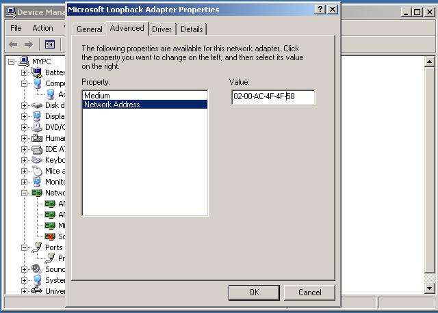 Loopback adaptor MAC address