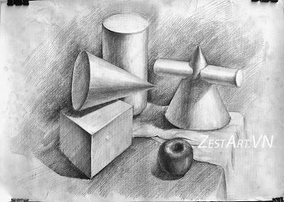 vẽ hình khối cơ bản, lớp vẽ zest art, dạy học vẽ tại tphcm, dạy vẽ cơ bản, tranh phong cảnh