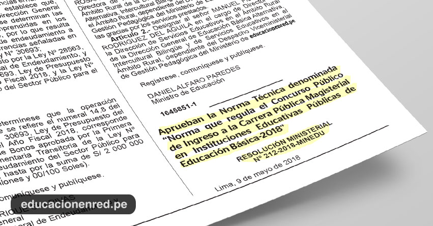 YA ES OFICIAL: Minedu Convoca a Nombramiento Docente 2018 (R. M. N° 212-2018-MINEDU) www.minedu.gob.pe