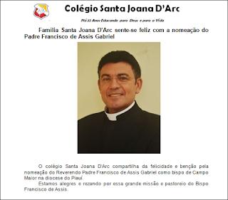 Família Santa Joana D'Arc sente-se feliz com a nomeação do Padre Francisco de Assis Gabriel