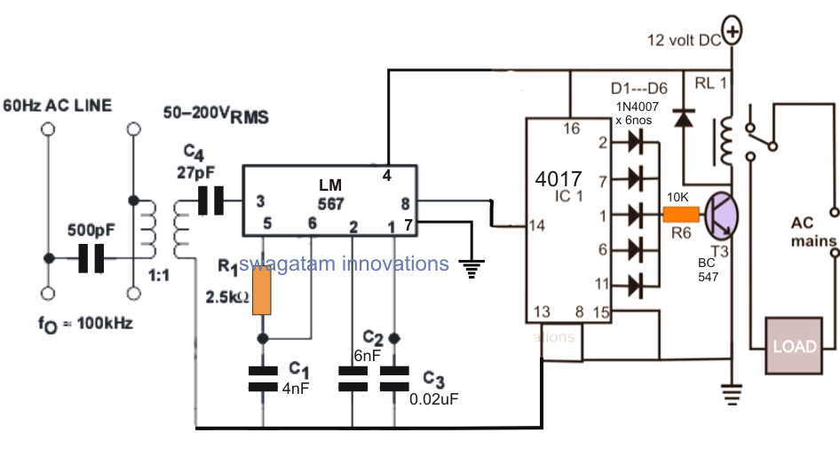 Power Line Communication Appliance Remote Control Circuit