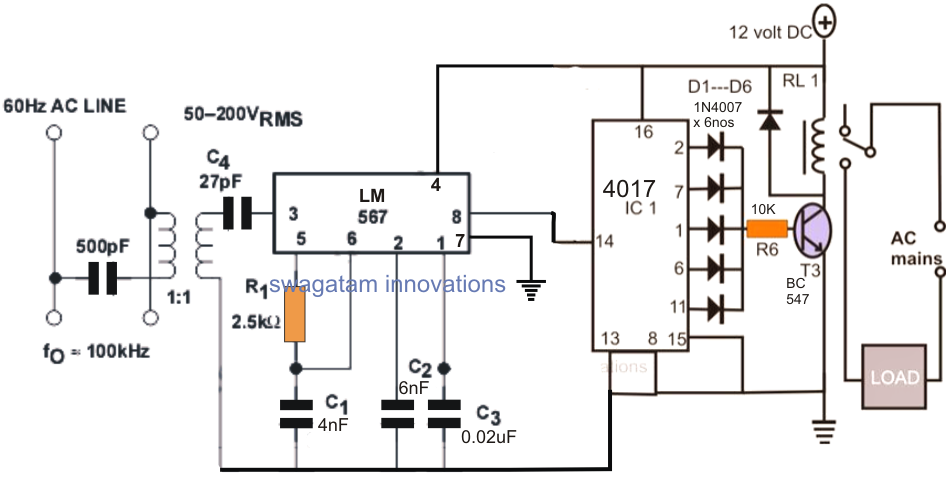 power line communication appliance remote control circuit