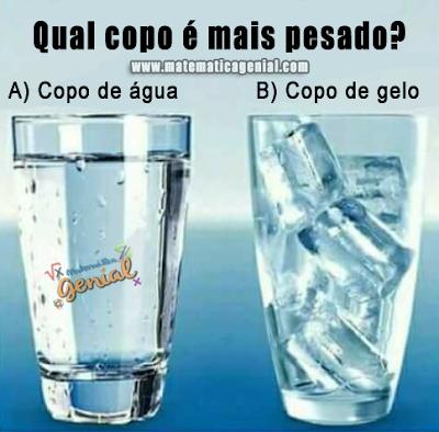 Qual copo é mais pesado - copo de água ou copo de gelo?