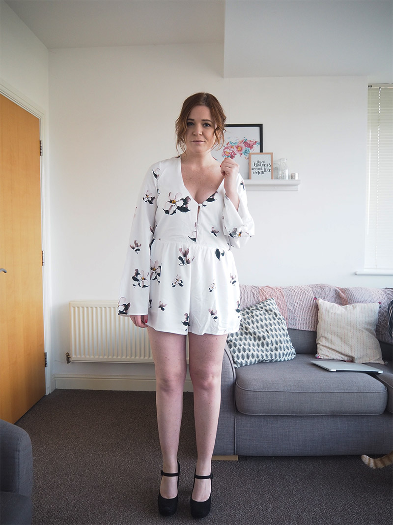 white floral playsuit outfit of the day black heels