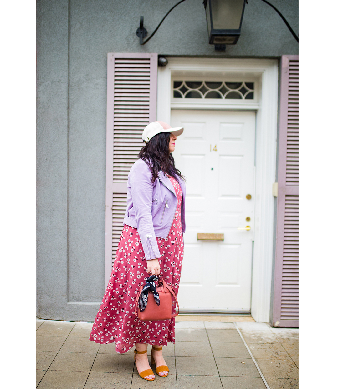 OOTD: Making my way with Madewell featuring Madewell's Tie-Waist Maxi Dress in Vintage Daisies, The Small Drawstring Transport Crossbody, Bandana, Bead Mix Bracelet, Tassel Statement Earrings, Claudia Sandal in Suede, and Bagatelle NYC's Suede Moto Jacket :: Effortlessly with Roxy