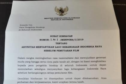 Wah, Menpora Keluarkan Surat Minta Penonton Bioskop Nyanyi Lagu Indonesia Raya Sebelum Pemutaran Film