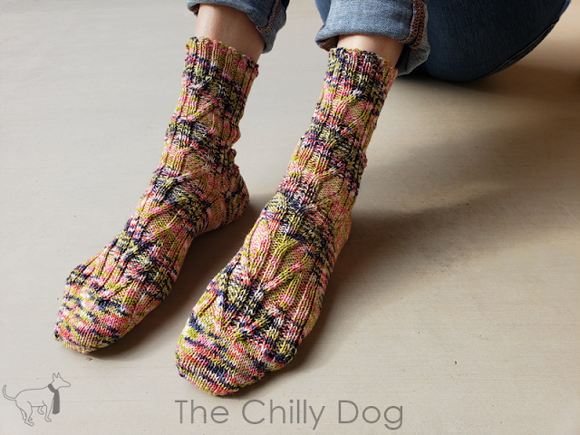 Birch Grove Socks Knitting Pattern: Unisex knit sock pattern with leaf-like cabled panels at the front and back and slender ribs up the sides