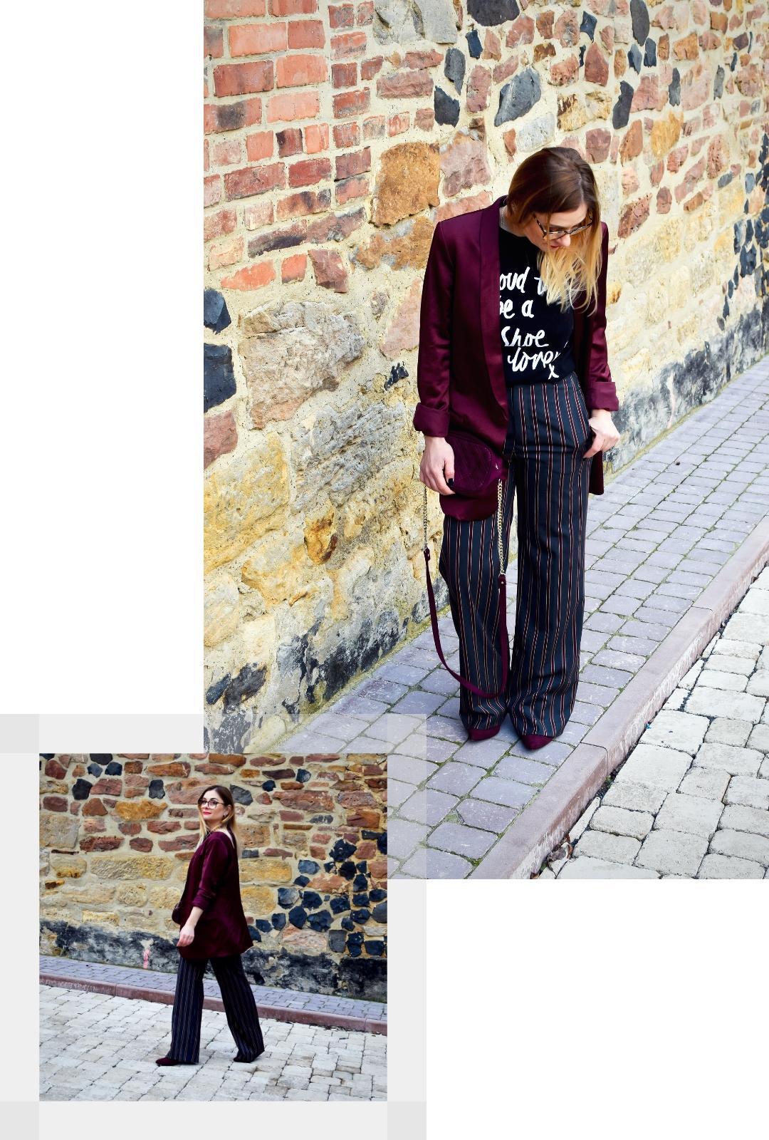 T-Shirt, Blazer und gestreifte Hose, Modeblog für Frauen ab 40