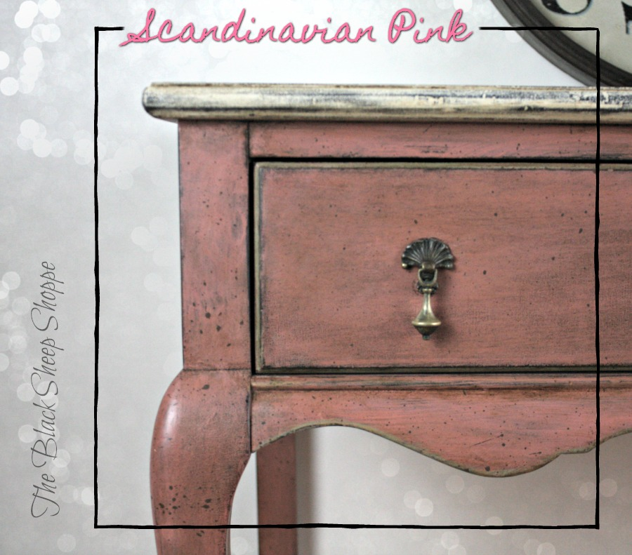 Scandinavian Pink chalk paint on desk.