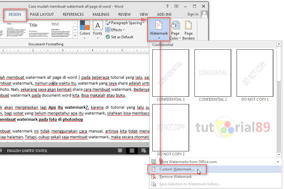 Cara mudah membuat watermark all page di word
