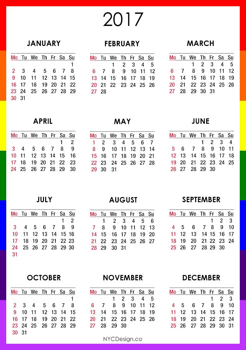 Calendar 2017 Generator