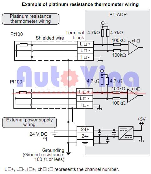 Sơ đồ đấu nối tín hiệu cảm biến nhiệt PT100 cho FX3U-4AD-PT-ADP