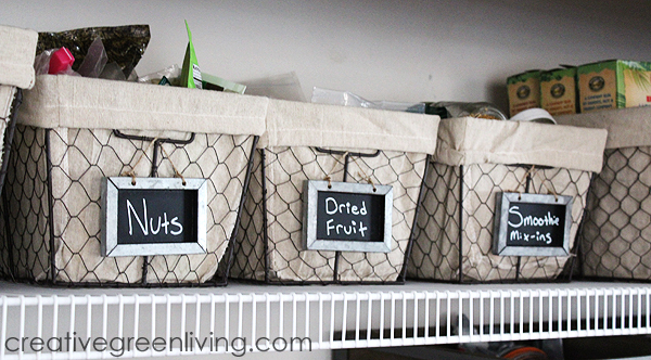 how to organize a pantry with baskets