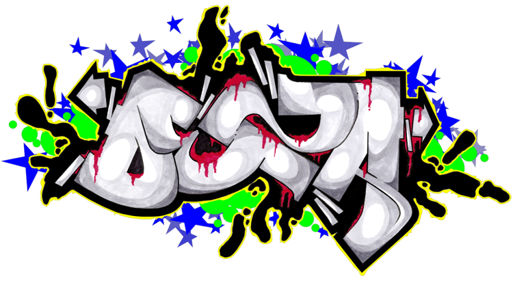 Gambar Grafiti Orang Hitam Putih