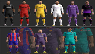 Kits Real Madrid + Barcelona 2016-2017 Pes 2013