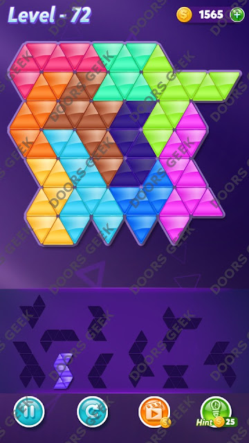 Block! Triangle Puzzle 10 Mania Level 72 Solution, Cheats, Walkthrough for Android, iPhone, iPad and iPod