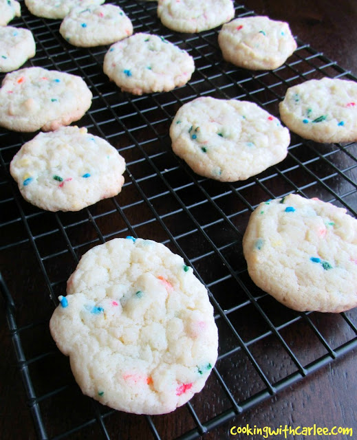funfetti cake mix cookies on cooling rack