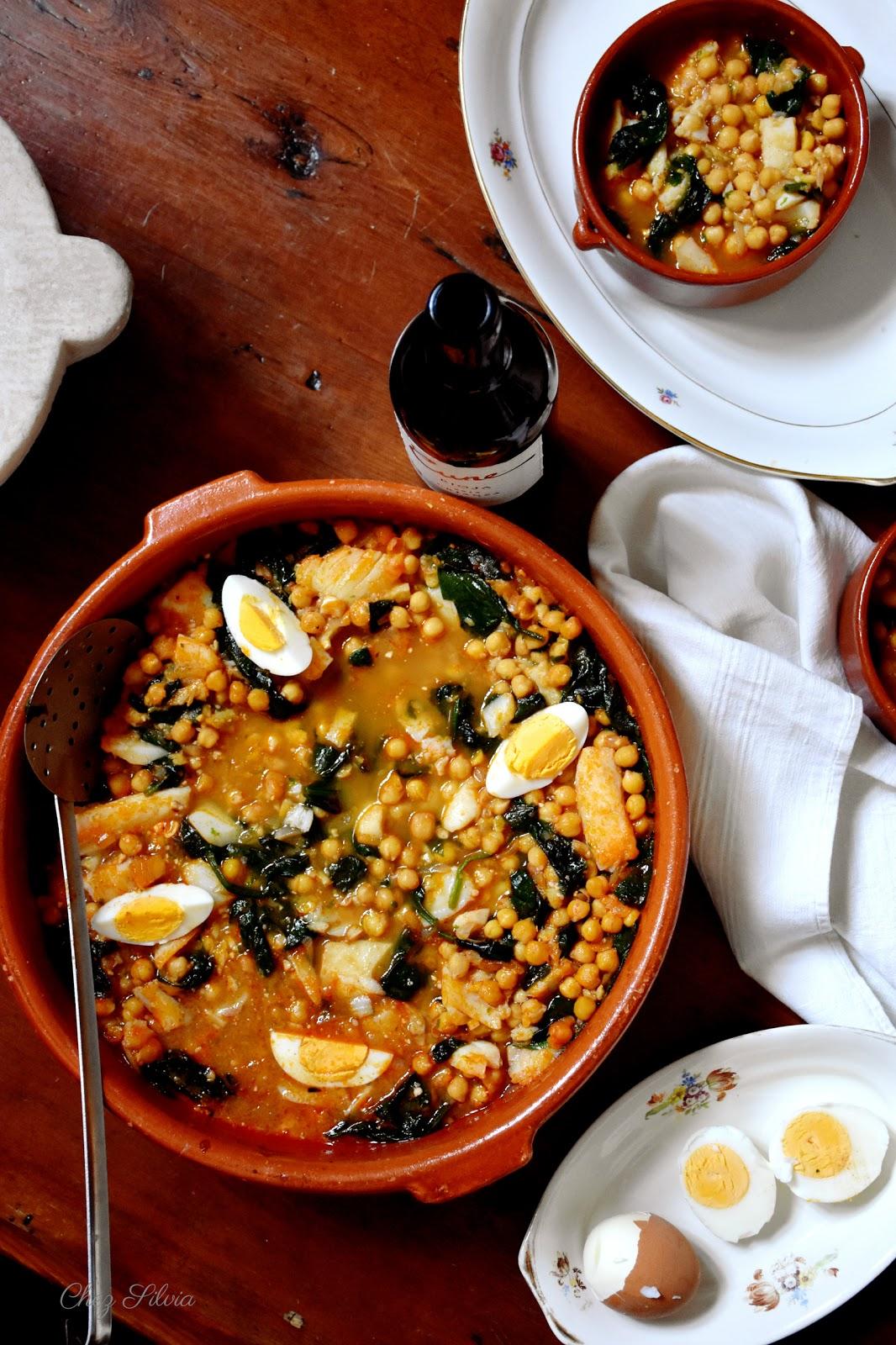 Potaje de garbanzos con espinacas y bacalao chez silvia - Potaje con bacalao y espinacas ...