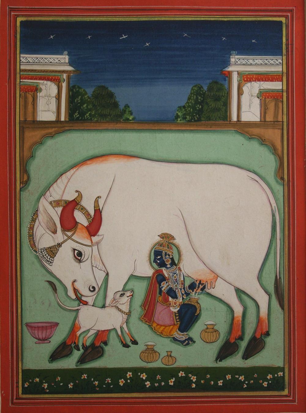 Krishna Milking a Cow - Rajput Painting, NathDwara, c1820