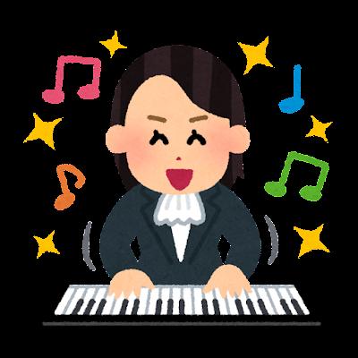 好調な音楽家のイラスト(女性)