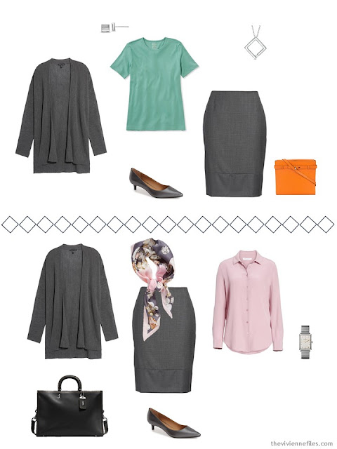 2 ways to wear a grey skirt from a Tote Bag Travel wardrobe